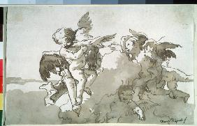 Cupids with doves and a torch
