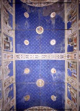 View of the ceiling vault with medallions depicting Christ, Madonna and Child and the Doctors of the