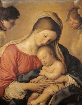 Maria with the slumbering Jesuskind.