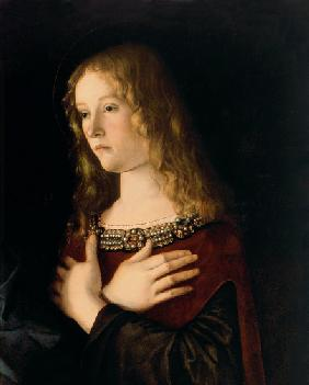 Mary Magdalene, detail from the Virgin and Child with St. Catherine and Mary Magdalene