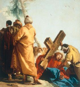 Christ falls beneath the Cross for the second time