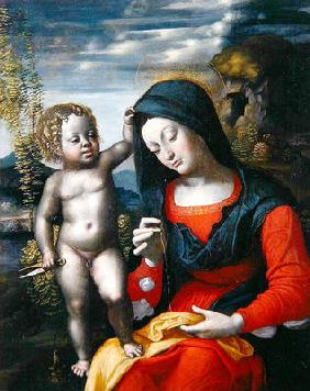 The Madonna Sewing (oil on canvas)