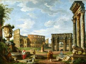 A Capriccio View Of Rome With The Colosseum, The Arch Of Constantine And The Temple Of Castor And Po