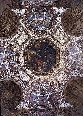 Camera delle Aquile, ceiling with the Fall of Icarus in the central panel surrounded by stucco decor