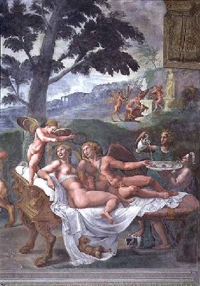 Cupid and Psyche with their daughter Voluptuousness, waited on by Ceres who pours water into a basin