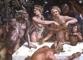 Two Horae scattering flowers, watched by two satyrs, detail of the rustic banquet celebrating the ma
