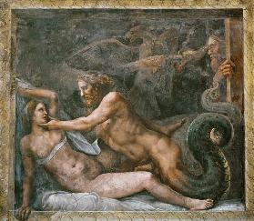 Olympia is seduced by Jupiter, whose thunderbolt is seized by an eagle who drills the eye of the jea