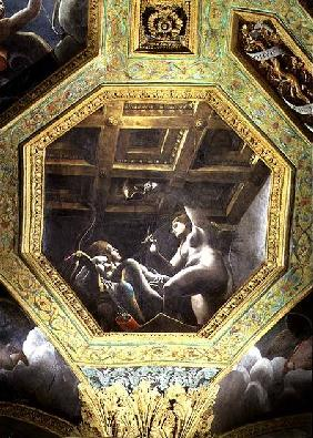 Psyche sees Cupid while he sleeps, ceiling caisson from the Sala di Amore e Psiche
