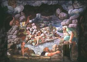 Sala dei Giganti, detail of the destruction of the giants by Jupiter's thunderbolts