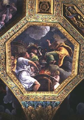 Scene of the sacrifice of a dove, ceiling caisson from the Sala di Amore e Psiche