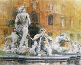 Fountain in the Piazza Navona, Rome, 1982 (w/c and gouache on paper)