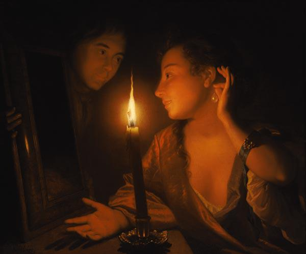 A Lady Admiring An Earring by Candlelight