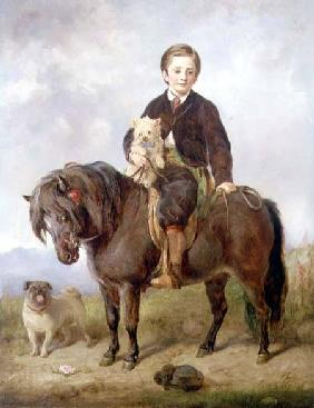 Steell Gourlay - John Samuel Bradford as a boy seated on a shetland pony with a pug dog