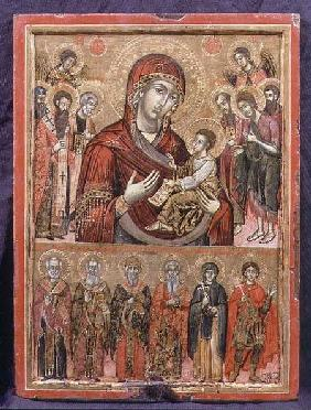 The Mother of God Hodegetria and Saints, icon from the Cycladic Islands