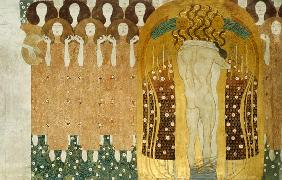 Here's a Kiss to the Whole World!, detail of the Beethoven Frieze, 1902 (casein, gold leaf, semi-pre 1902