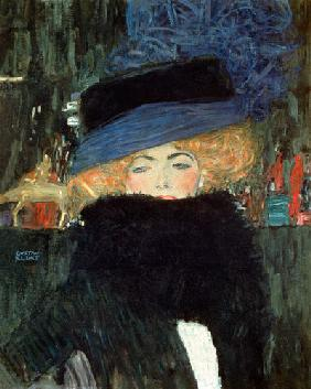 Lady with hat and boa um 1910