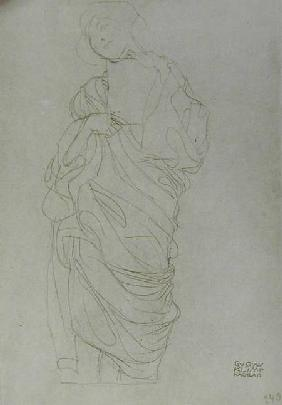 Robed Standing Woman Holding Card, cil on brown