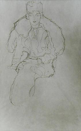 Seated Woman with Fur Wrap and Headdress