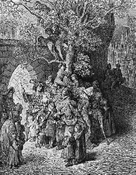 Crowd of onlookers and spectators at the wedding, scene from ''The Rime of the Ancient Mariner'' S.T