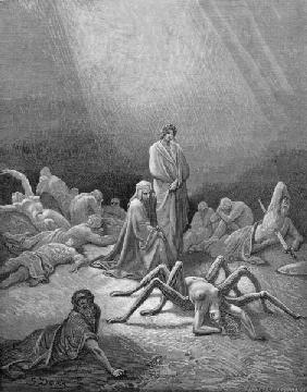 Virgil (70-19 BC) and Dante looking at the spider woman, illustration from ''The Divine Comedy'' (In