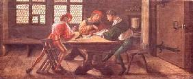 Holbein (el Joven) Hans - A School Teacher Explaining the Meaning of a Letter to Illiterate Workers