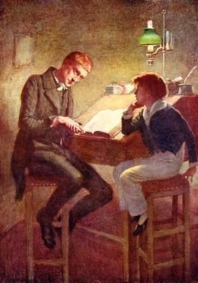 David Copperfield and Uriah Heep, illustration for 'Character Sketches from Dickens' compiled by B.W