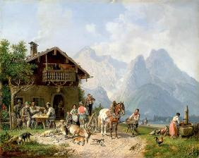 Heinrich B�rkel - Drinking Hunter in front of the Huntinglodge near Partenkirchen