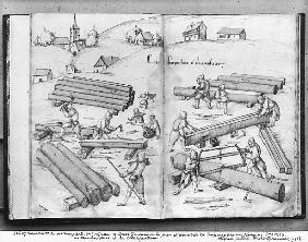 Silver mine of La Croix-aux-Mines, Lorraine, fol.2v and fol.3r, carpenters and carpentry, c.1530