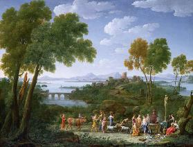 An Extensive Italianate Landscape with a Sacrifice