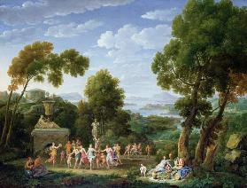 A Wooded Italianate Landscape with Nymphs Dancing