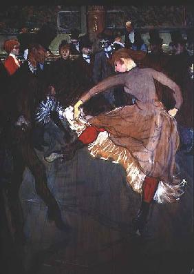 The Dance at the Moulin Rouge: detail showing Valentin Dessose (the 'Boneless') on the left dancing