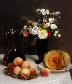 Still Life with Decanter, Flowers and Fruits