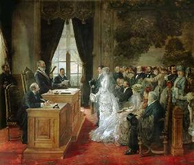 The wedding of Mathurin Moreau in the city hall of