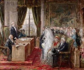 Study for the Civil Marriage in the Town Hall of the 19th Arrondissement, 1881 (oil on canvas)
