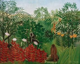 H.Rousseau / Tropical Forest with monkey