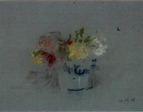 Flowers in a Blue and White Jar