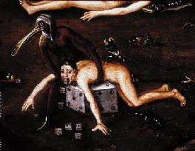 The Inferno, detail of a man elevated by a creature with a bird's beak onto a dice