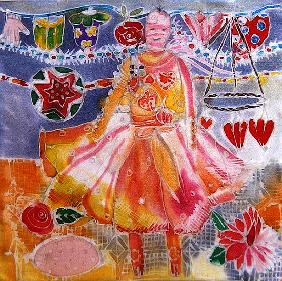Fairy with Hearts and Flowers, 2006 (dyes on silk)