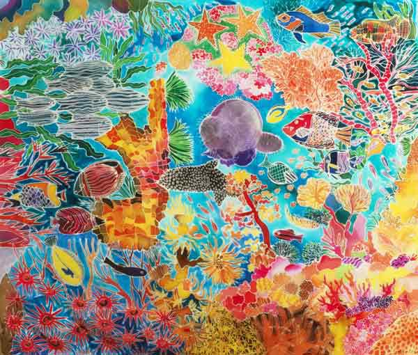 Tropical Coral, 1993 (coloured ink on silk)