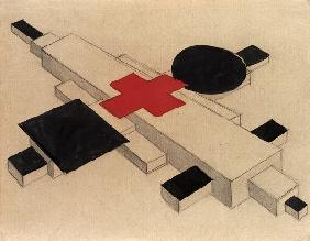 Design for a Suprematist architectural model, 1925-26 (India ink, w/c & pencil on