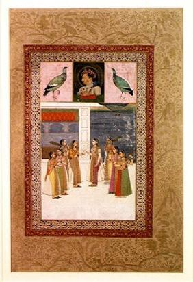 Ms E-14 Portrait of Djahangir (1569-1627) two birds and noble women in conversation