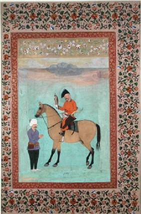 Ms E-14 Shah Abbas (1571-1629) on a horse holding a falcon