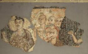 Buddha with his Six Disciples, from Miran