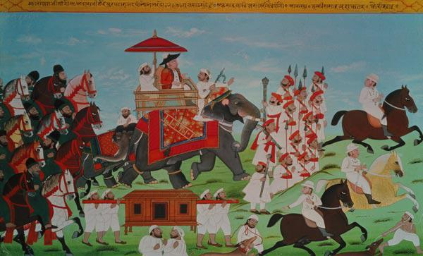 Colonel James Todd travelling by elephant through Rajasthan with his Cavalry and Sepoys