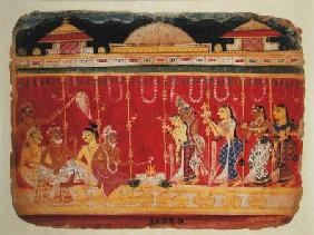 Indian School  - The Marriage of Krishna's Parents, from a dispersed manuscript of the 'Bhagavata Purana' from Mewar,