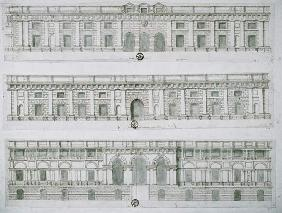 Palazzo del Te, Mantua designed by Giulio Romano, drawing of 3 facades