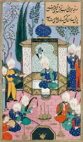 Ms B-284 Fol.33b The Court of the Sultan, illustration from 'The Divan of Sultan Husayn Bayqara'