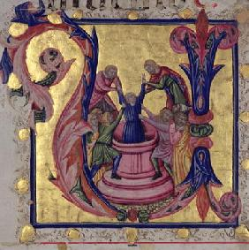 Historiated initial 'U' depicting Joseph being pulled from the well by his brothers, Tuscan School (