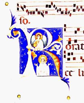 P 23 V Historiated initial 'R' depicting an angel and a female saint (vellum)