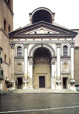 View of the facade designed by Leon Battista Alberti (1404-72) built after his death by Luca Fancell